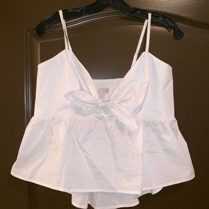 White Tie Front Bow Tank Top